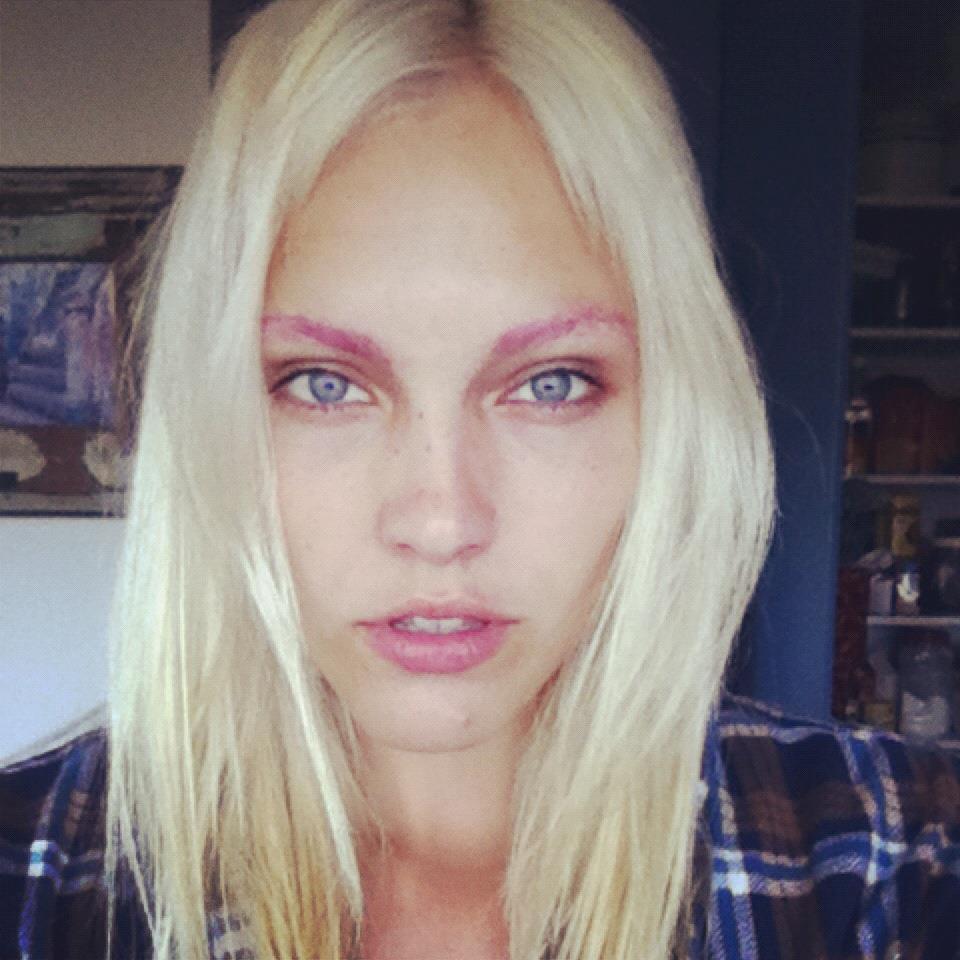 Model Lola Van Hurst and pink eyebrows